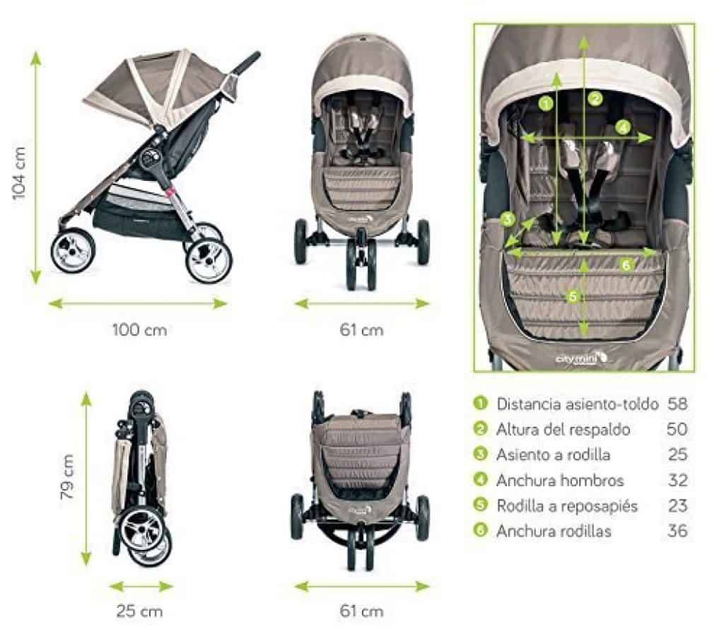 Baby Jogger City Mini 3  dimensioni