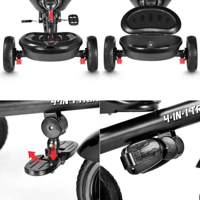Besrey 4 in 1 Triciclo Passeggino cesto portaoggetti e pedali